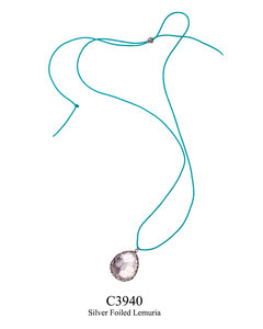C3940 OXI 59, GP 69: CORD NECKLACE OXI FILIGREE W/ SILVER FOILED AQUA LEMURIA DROP.