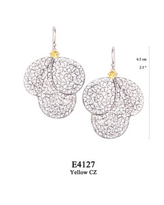 E4127 OXI 110, GP 130: OXI HANGING EARRING YELLOW CZ IN CUP, 3 BIG FILIGREE TEARDROPS.