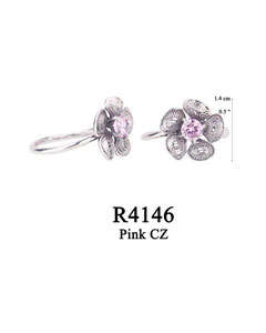 R4146 OXI 50, GP 56:  OXI RING FILIGREE FLOWER W/ PINK CZ IN CENTER OF FLOWER.