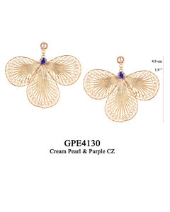 GPE4130 GP 145, OXI 125: GP CREAM PEARL POST EARRING, PURPLE CZ IN CUP BELOW POST, 3 FILIGREE TEARDROP.