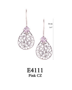 E4111 OXI 50, GP 56:  OXI HANGING EARRING PINK CZ IN CUP, FILIGREE TEARDROP.