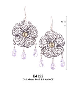 E4122 OXI 130, GP 150: OXI HANGING EARRING LARGE FILIGREE FLOWER W/ DARK GREEN PEARL IN CENTER CUP. 3 PURPLE CZ DROPS.