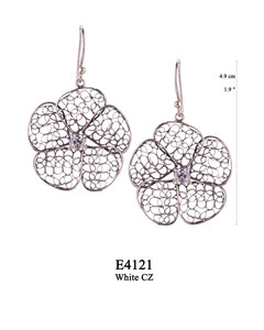 E4121 OXI 60, GP 70: OXI HANGING EARRING LARGE FILIGREE FLOWER W/ WHITE CZ IN CENTER CUP.