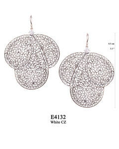 E4132 OXI 210, GP 240: OXI HANGING EARRING WHITE CZ IN CUP, 3 BIG FILIGREE TEARDROPS.
