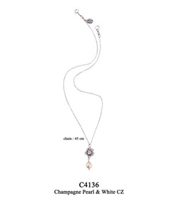 C4136 OXI 59, GP 69: OXI TWIST NECKLACE, FILIGREE FLOWER, WHITE CZ IN CUP, CHAMPAGNE PEARL DROP.