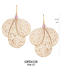 GPE4128 GP 130, OXI 110: GP HANGING EARRING PINK CZ IN CUP, 3 BIG FILIGREE TEARDROPS.