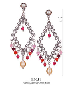 E4051 OXI 100, GP 120: OXI FILIGREE POST EARRING CREAM PEARL IN TULIP CUP & CENTER BOTTOM DROP.  W/ FUCHSIA AGATE CENTER & BOTTOM DROP.