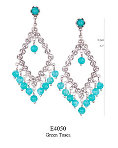 E4050 OXI 100, GP 120: OXI FILIGREE POST EARRING GREEN TOSCA IN TULIP CUP W/ GREEN TOSCA CENTER DROP AND 9 GREEN TOSCA DROPS.