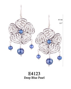 E4123 OXI 115, GP 135: OXI HANGING EARRING LARGE FILIGREE FLOWER W/ DEEP BLUE PEARL IN CENTER CUP. 3 DEEP BLUE PEARL DROPS.
