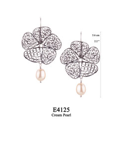 E4125 OXI 60, GP 70: OXI HANGING EARRING LARGE FILIGREE FLOWER, CREAM PEARL DROP.