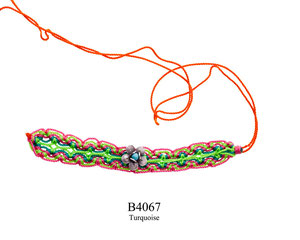 B4067 OXI 39, GP 45: MULTI COLORED KNOTTED CORD BRACELET W/OXI FILIGREE  BLOSSOM FLOWER W/ TURQUOISE IN CENTER.
