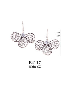 E4117 OXI 60, GP 70: OXI HANGING EARRING WHITE CZ IN CUP, 3 FILIGREE TEARDROP.