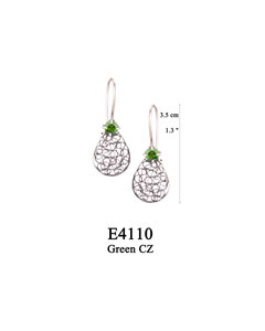 E4110 OXI 45, GP 51: OXI HANGING EARRING GREEN CZ IN CUP, FILIGREE TEARDROP.