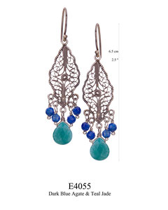 E4055 OXI 54, GP 64: OXI FILIGREE HANGING EARRING W/ DARK BLUE AGATE DROPS AND TEAL JADE CENTER DROP.