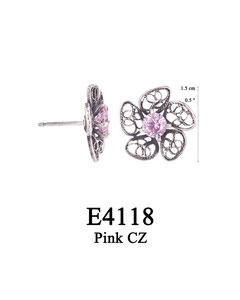 E4118 OXI 39, GP 45: OXI POST EARRING FILIGREE FLOWER W/ PINK CZ IN CENTER CUP.