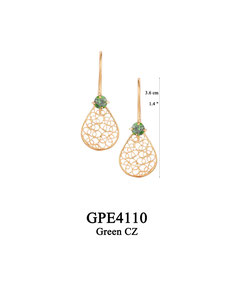 GPE4110 GP 56, OXI 50: GP HANGING EARRING GREEN CZ IN CUP, FILIGREE TEARDROP.
