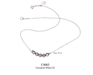 C4063 OXI 89, GP 99: NECKLACE OXI FILIGREE W/ 5 WHITE CZ IN CUP.