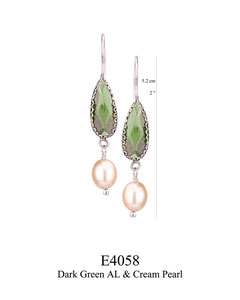 E4058 OXI 54, GP 60: OXI FILIGREE HANGING EARRING W/ DARK GREEN AL & CREAM PEARL DROPS.