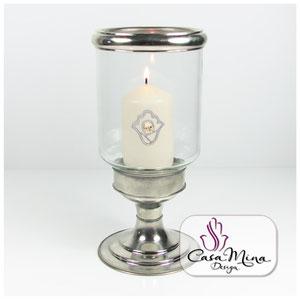 orientalische Windlicht Glaswindlicht Kerzenständer Kerzenhalter handarbeit Alpacca 27 cm Casa Mina Design