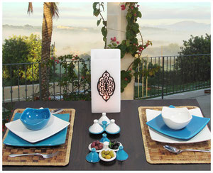 keramik Geschirr-Set gedeckter Tisch Teller Schale Quadrato Geschirrset türkis/weiß Casa Mina Design