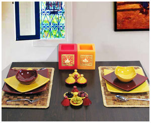 Keramik Geschirr-Set gedeckter Tisch Teller Schalen Geschirrset gelb-rot Quadrato Casa Mina Design