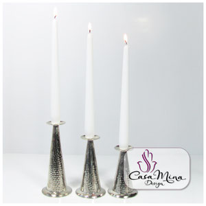 Orientalische Kerzenhalter Kerzenständer silber 3er Set Handarbeit Alpacca Casa Mina Design