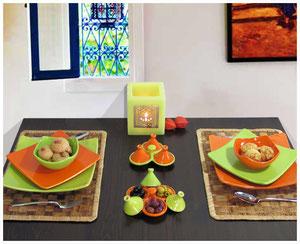keramik Geschirr-Set gedeckter Tisch Teller Schale Geschirrset orange-grün QuadratoCasa Mina Design