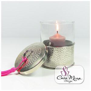 Orientalische Windlicht Glaswindlicht Kerzenhalter silber handarbeit Alpacca mit Deckel Casa Mina Design