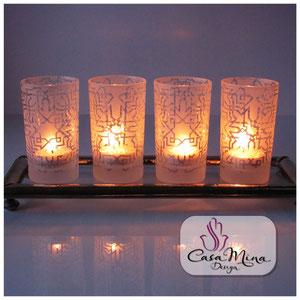 Orientalische Teegläser Glaswindlichter Windlichter Kerzenhalter 4er Set