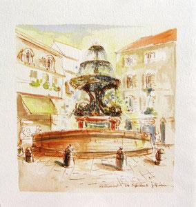 * 742- La fontaine des dauphins, 40 x 40, Arches 350 gr