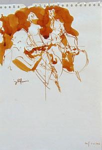 * 529- lavis merisier, répetition des élèves de l'Ecole nationale de Musique d'Epinal , 20 x 30