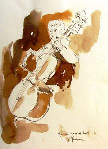 * 533- lavis merisier, répetition des élèves de l'Ecole nationale de Musique d'Epinal , 20 x 30