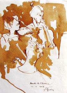 * 527- lavis merisier, répetition des élèves de l'Ecole nationale de Musique d'Epinal , 20 x 30