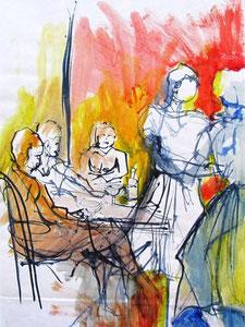 *547-La guinguette de La Croisette d'Hérival à Remiremont, 50 x 70 ,Acrylique sur papier glacé