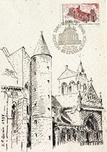 170- Épinal, carte postale de la Basilique St-Maurice à partir de mon dessin original,pour la sortie du Timbre-Poste sur Épinal
