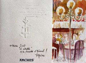 """*544- La guinguette de La Croisette d'Hérival à Remiremont, 30 x60,""""rétable en 3 volets"""" avec filigrane du 500 è-me anniv. de la papeterie d'Arches"""
