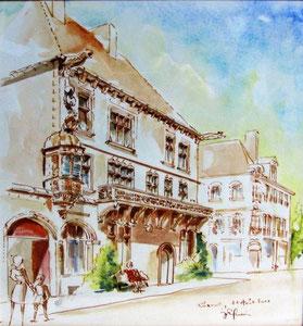 *773- La maison du cardinal Jouffroy, 40 x 40  Arches 300 gr