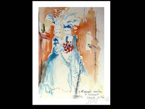 *763- peint en direct, 21 x 30, papier Lana ,180 gr