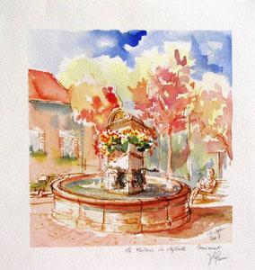 * 741- La fontaine des Eléphants , 40 x 40, Arches 350 gr