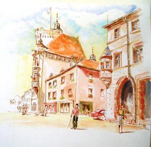 *772- La Tour des Echevins,en montant la rue principale, 40 x 40  Arches 300 gr