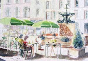* 740- La fontaine des Dauphins, 50 x 70 ,Arches 350 gr