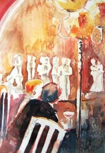 *541- La guinguette de La Croisette d'Hérival à Remiremont, 50 x 70 Arches 350 gr