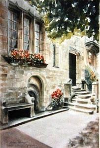801- Grande aquarelle sur Luxeuil, 50 x 70
