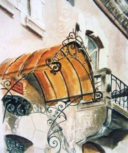793- Grande aquarelle sur Luxeuil, 50 x 70