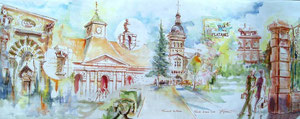 783- Un de mes nombreux  panoramiques de Luxeuil ,tous peints sur place...85 x 33