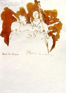 * 537- lavis merisier, répetition des élèves de l'Ecole nationale de Musique d'Epinal , 20 x 30
