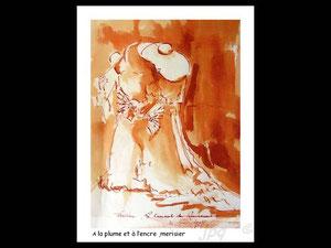745-1  Le lavis réalisé en direct au carnaval ,qui a servi pour la gravure, 21 x 30 ,papier Lana 180 gr