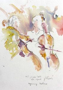 * 524- Les élèves de Marie en répétition, orchestre à cordes d'Epinal ,30x 40