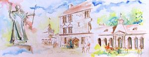 * 770- Luxeuil, ville d'Histoire, 85 x 33 Arches 350gr réalisé en direct !