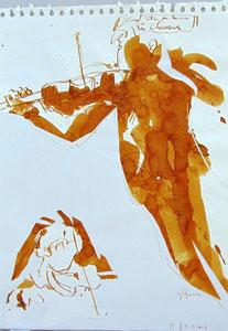 * 526- lavis merisier, répetition des élèves de l'Ecole nationale de Musique d'Epinal , 20 x 30